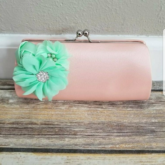 773e392f3e234 Bags | New Peach And Mint Green Satin Clutch Purse | Poshmark